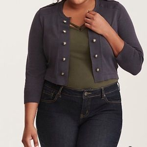Torrid gray cropped military cardigan sweater 2X